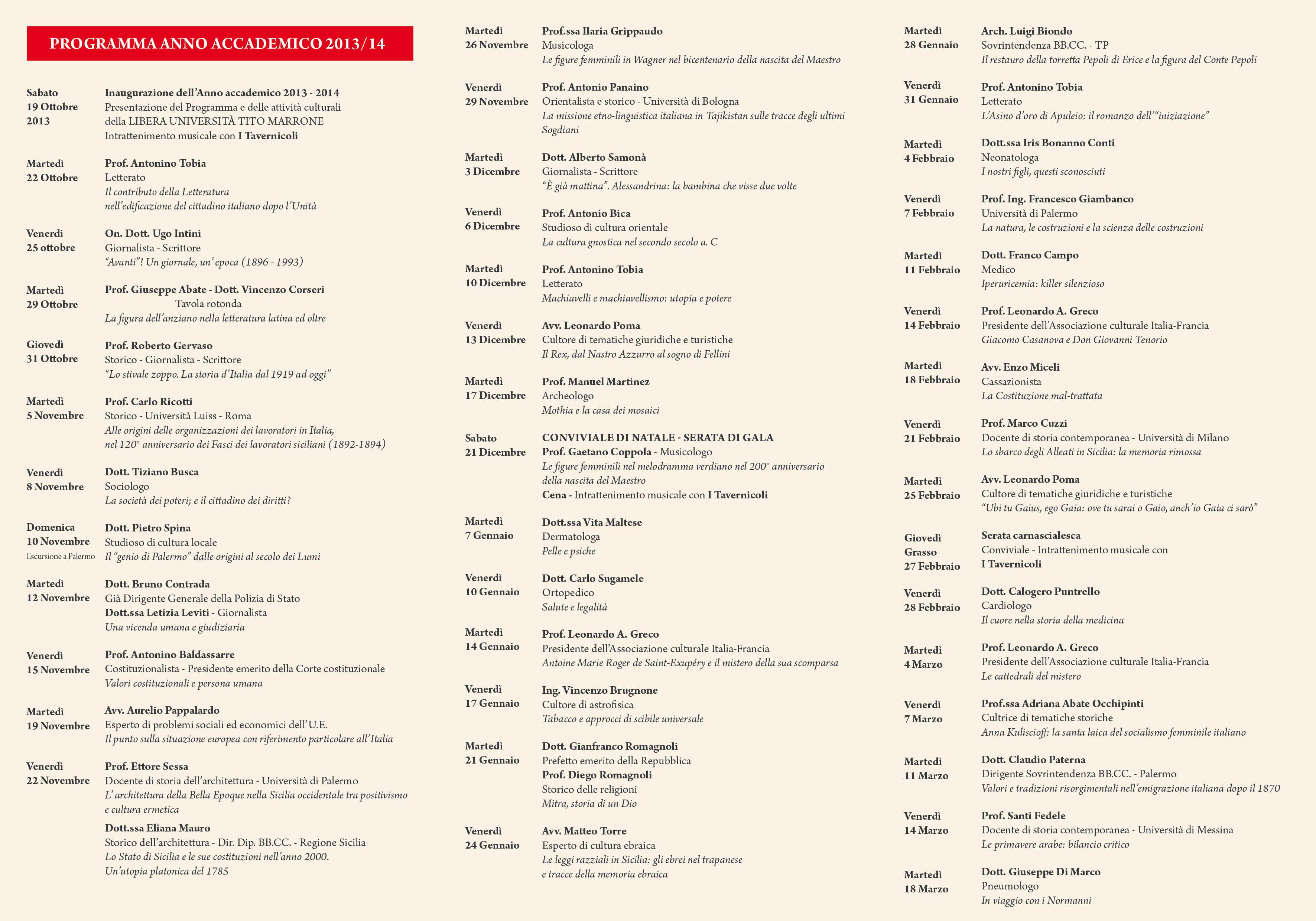 Calendario Anno 2014.Calendario Anno Accademico 2013 2014 Libera Universita